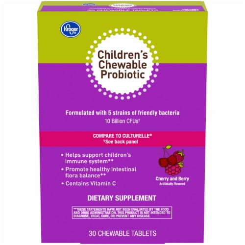 Kroger® Cherry and Berry Children's Chewable Probiotic Tablets 30 Count Perspective: front