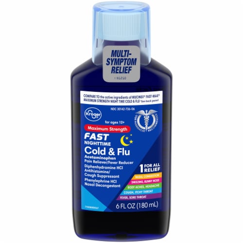Kroger® Maximum Strength Fast Nighttime Cold & Flu Perspective: front