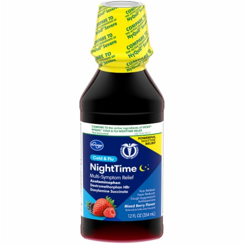 Kroger® Mixed Berry NightTime Cold & Flu Multi-Symptom Relief Liquid Perspective: front