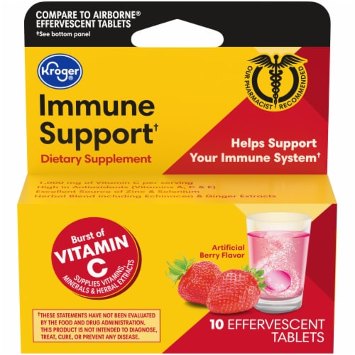 Kroger® Immune Support Berry Flavor Effervescent Tablets Perspective: front