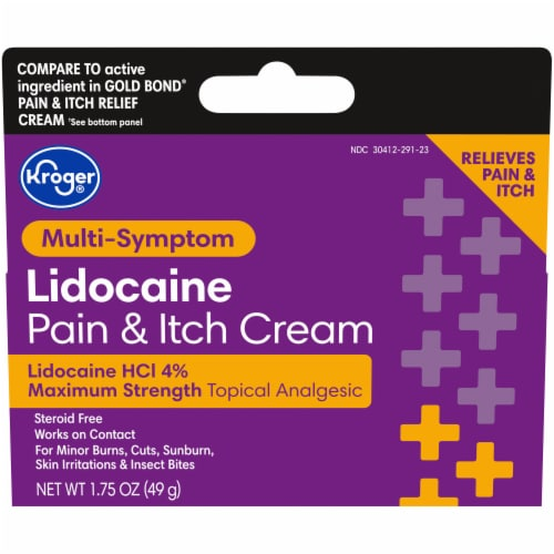 Kroger® Max Strength Lidocaine Pain & Itch Cream Perspective: front