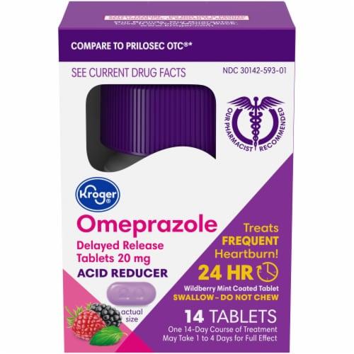 Kroger Wildberry Mint Omeprazole Acid Reducer Tablets Perspective: front