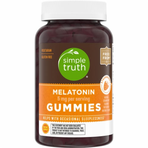 Simple Truth® 5mg Strawberry Flavored Melatonin Gummies Perspective: front
