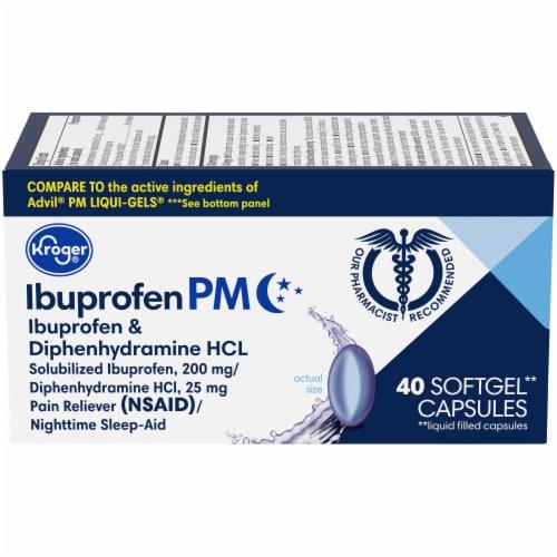 Kroger® Ibuprofen PM Liquid Softgel Capsules Perspective: front