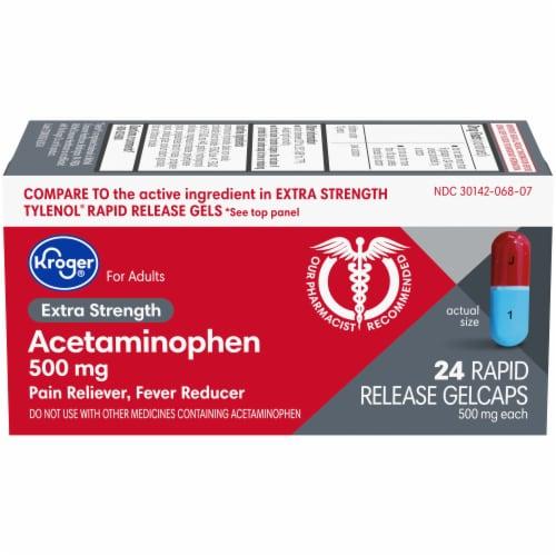 Kroger® Extra Strength Acetaminophen Rapid Release Gelcaps 500mg Perspective: front