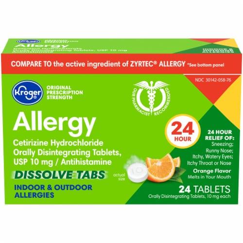 Kroger® Orange Flavor 24 Hour Allergy Dissolve Tablets Perspective: front