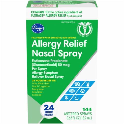 Kroger 24 Hour Allergy Relief Nasal Spray Perspective: front