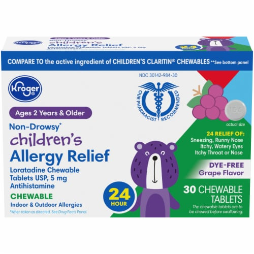 Kroger® Non-Drowsy Children's Allergy Relief 24 Hour Grape Chewable Tablets Perspective: front