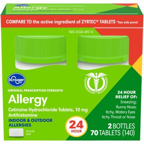 Kroger® 24 Hour Indoor & Outdoor Allergy Tablets 10mg Perspective: front