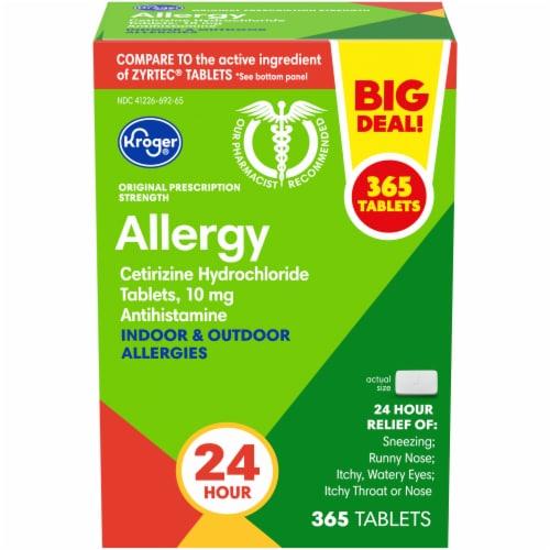 Kroger 24 Hour Indoor & Outdoor Allergy Relief Tablets Perspective: front