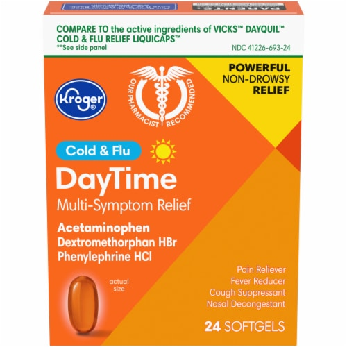 Kroger® Non-Drowsy DayTime Cold & Flu Softgels Perspective: front