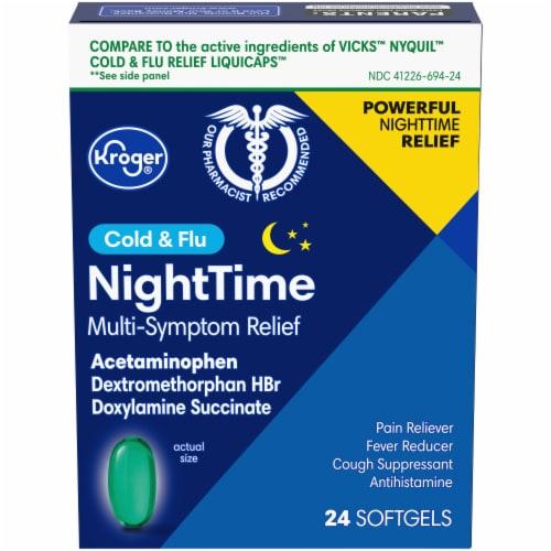 Kroger® NightTime Cold & Flu Softgels Perspective: front