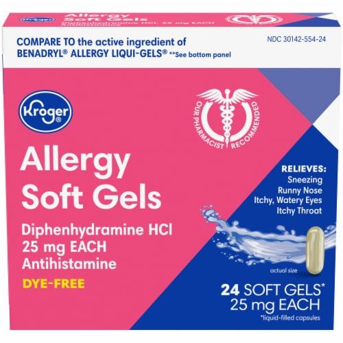 Kroger® Dye-Free Allergy Soft Gels 25mg Perspective: front