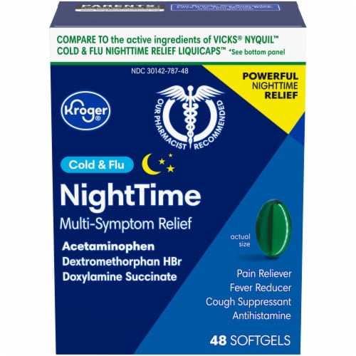 Kroger® Non-Drowsy Cold & Flu Nighttime Acetaminophen Caplets Perspective: front