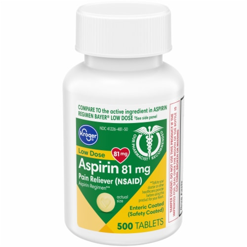 Kroger® Low Dose Aspirin Pain Reliever Enteric Coated Tablets 81mg Perspective: front