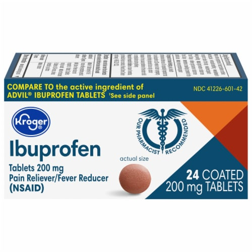 Kroger® Ibuprofen Pain Reliever/Fever Reducer Coated Tablets 200mg Perspective: front