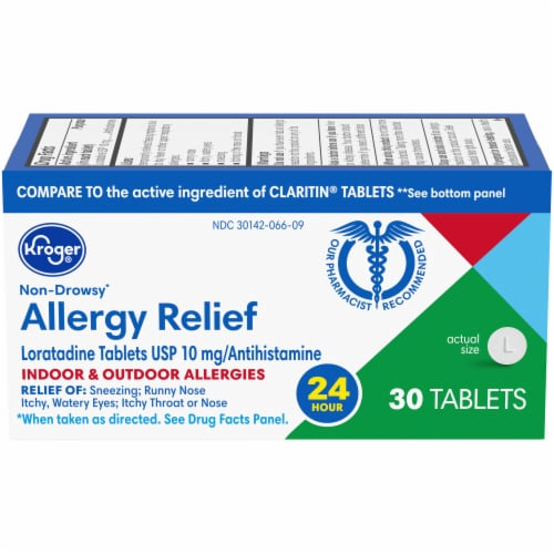 Kroger® 24 Hour Non-Drowsy Indoor & Outdoor Allergy Relief Tablets 10mg Perspective: front