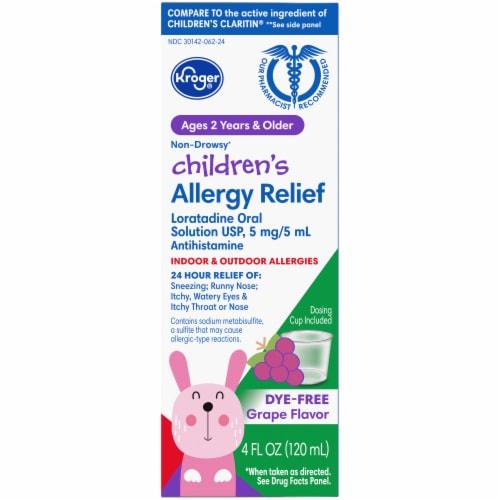 Kroger® Children's 24 Hour Non-Drowsy Indoor & Outdoor Grape Allergy Relief Liquid Perspective: front