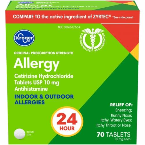 Kroger® 24 Hour Indoor & Outdoor Allergy Relief Tablets 10mg Perspective: front