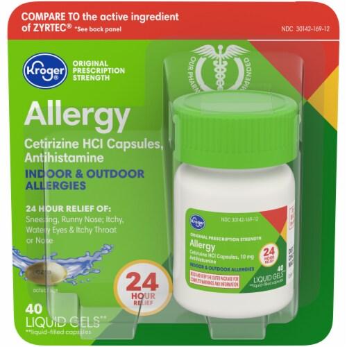 Kroger® Cetirizine HCl Antihistamine Allergy Relief Liquid Gels Perspective: front