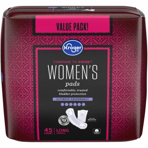 Kroger® Women's Ultimate Absorbency Long Length Bladder Control Pads Value Pack Perspective: front