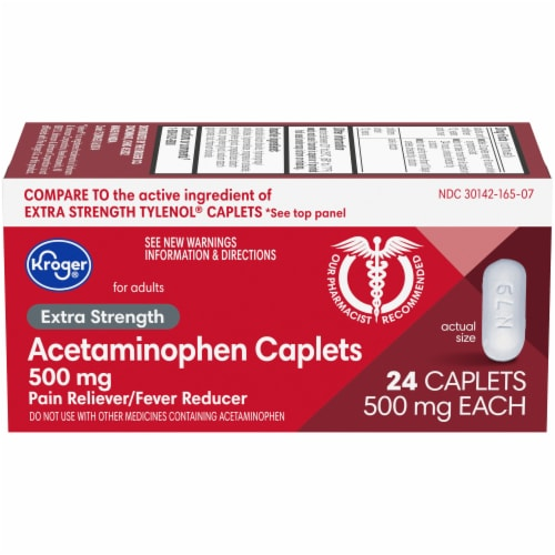 Kroger® Extra Strength Acetaminophen Caplets 500mg Perspective: front
