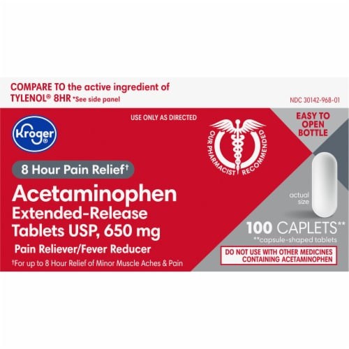 Kroger® Extended-Release 650 mg Acetaminophen Tablets Perspective: front