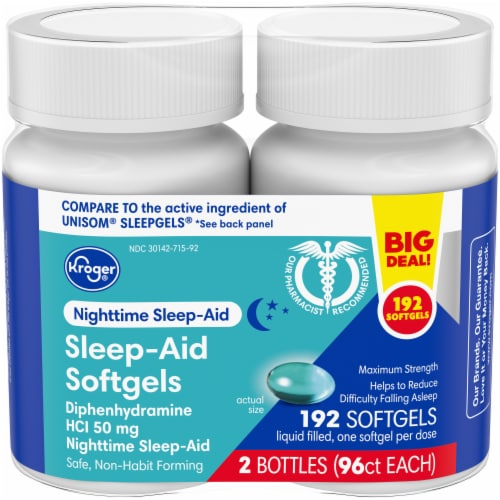 Kroger® Nighttime Sleep Aid Softgels Twin Pack Perspective: front
