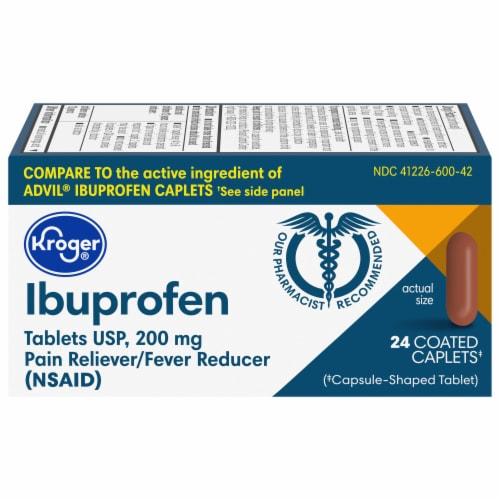 Kroger® Ibuprofen Coated Caplets 200mg Perspective: front