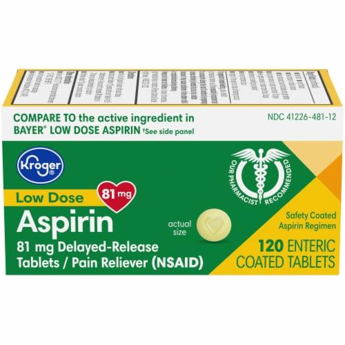 Kroger® Low Dose Aspirin Delayed-Release Tablets 81mg Perspective: front