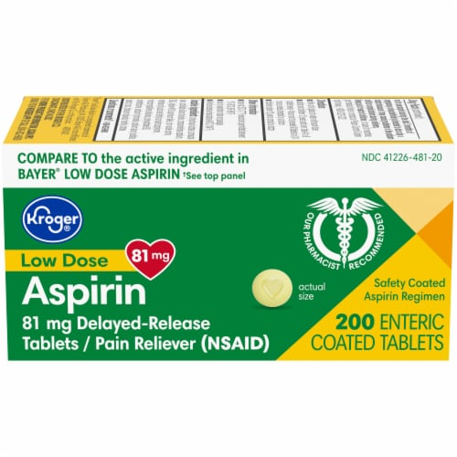 Kroger® Low Dose Aspirin Pain Reliever Tablets 81mg Perspective: front