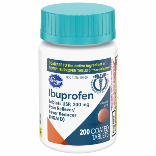 Kroger® Ibuprofen Pain Reliever & Fever Reducer Tablets 200mg Perspective: front