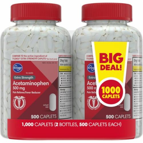 Kroger® Acetaminophen Pain Reliver/Fever Reducer Caplets 500mg Perspective: front