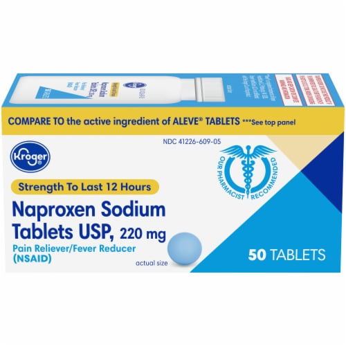 Kroger® Naproxen Sodium Pain Reliever & Fever Reducer Tablets 220mg Perspective: front