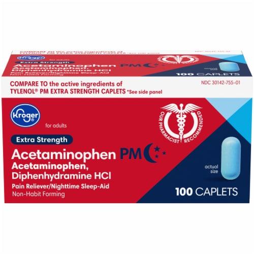 Kroger® Extra Strength Acetaminophen PM Caplets Perspective: front