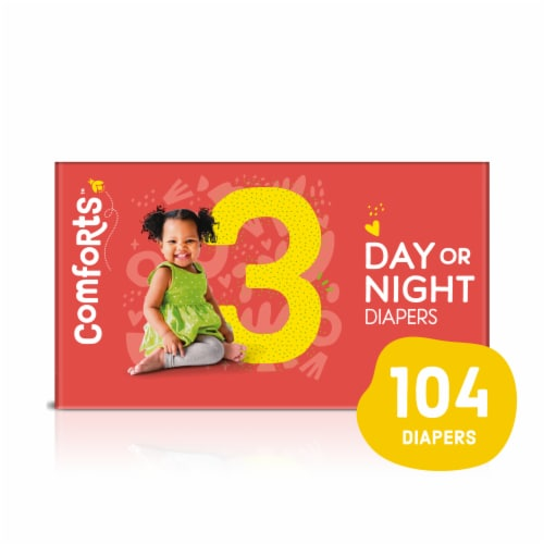Comforts™ Size 3 Day or Night Diapers Value Box Perspective: front