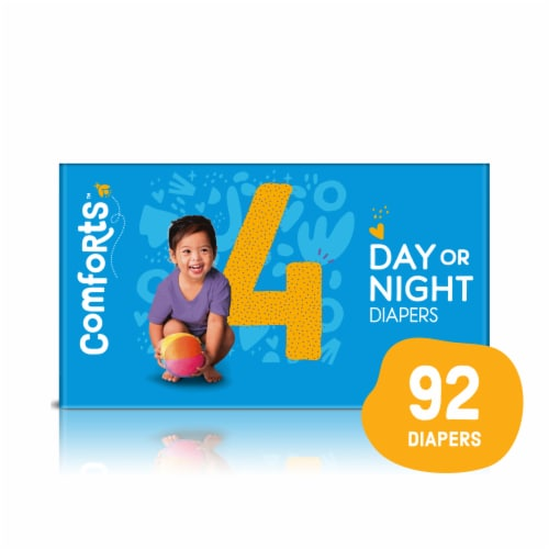Comforts™ Size 4 Day or Night Diapers Value Box Perspective: front