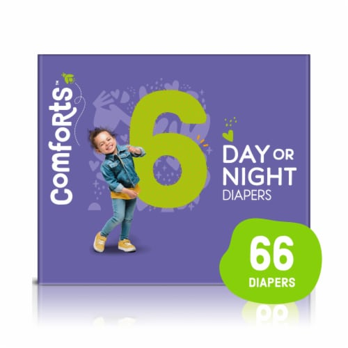Comforts™ Size 6 Day or Night Diapers Value Box Perspective: front