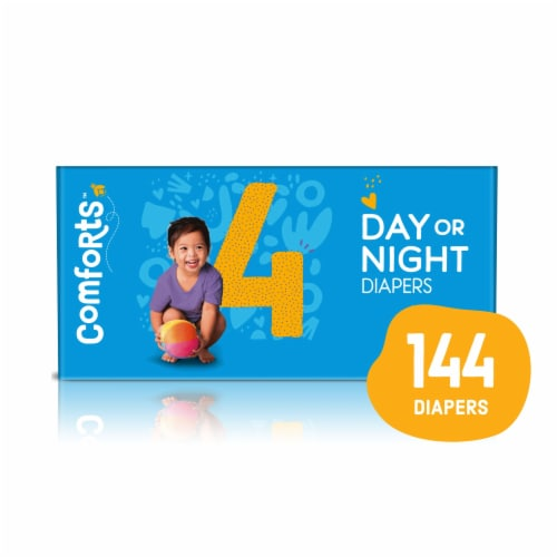 Comforts™ Size 4 Day or Night Diapers Super Value Box Perspective: front