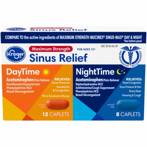 Kroger® Maximum Strength DayTime & NightTime Sinus Relief Caplets Perspective: front