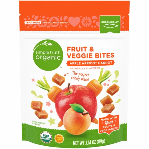 Simple Truth Organic™ Apple Apricot Carrot Fruit & Veggie Bites Perspective: front