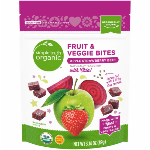 Simple Truth Organic™ Apple Strawberry Beet with Chia Fruit & Veggie Bites Perspective: front