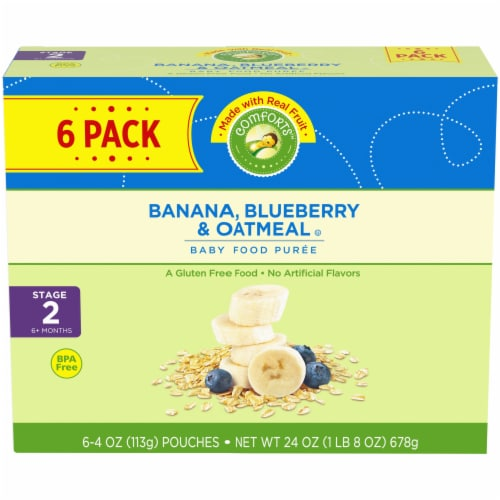 Comforts Banana Blueberry & Oatmeal Stage 2 Baby Food Perspective: front