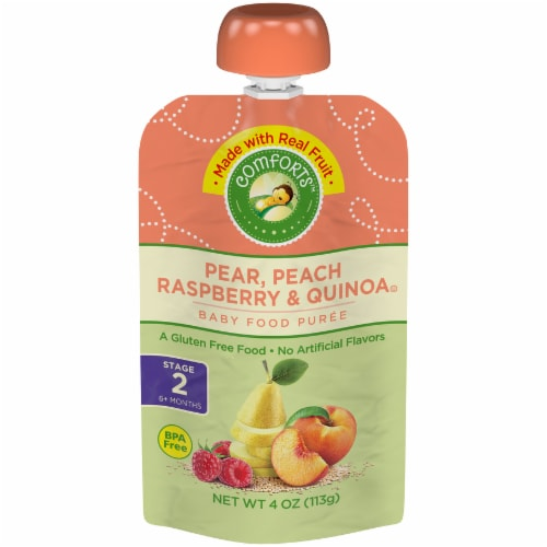 Comforts Pear Peach Raspberry and Quinoa Stage 2 Baby Food Perspective: front