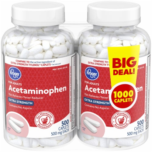 Kroger® Extra Strength 500 mg Acetaminophen Caplets Twin Pack Perspective: front