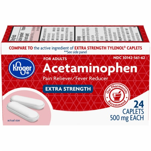 Kroger® Extra Strength Acetaminophen Pain Reliever & Fever Reducer Caplets 500mg Perspective: front