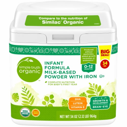 Simple Truth Organic™ Milk-Based Infant Formula Powder with Iron Perspective: front
