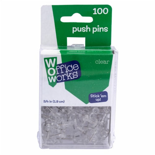 Office Works Push Pins - Clear Perspective: front