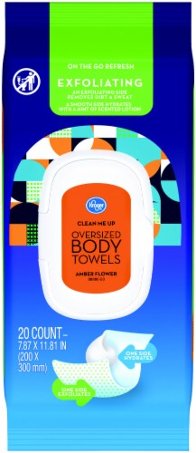 Kroger® Amber Flower Exfoliating Oversized Body Towels Package Perspective: front