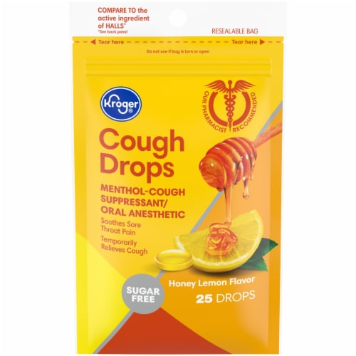 Kroger® Honey Lemon Sugar Free Cough Drops Perspective: front